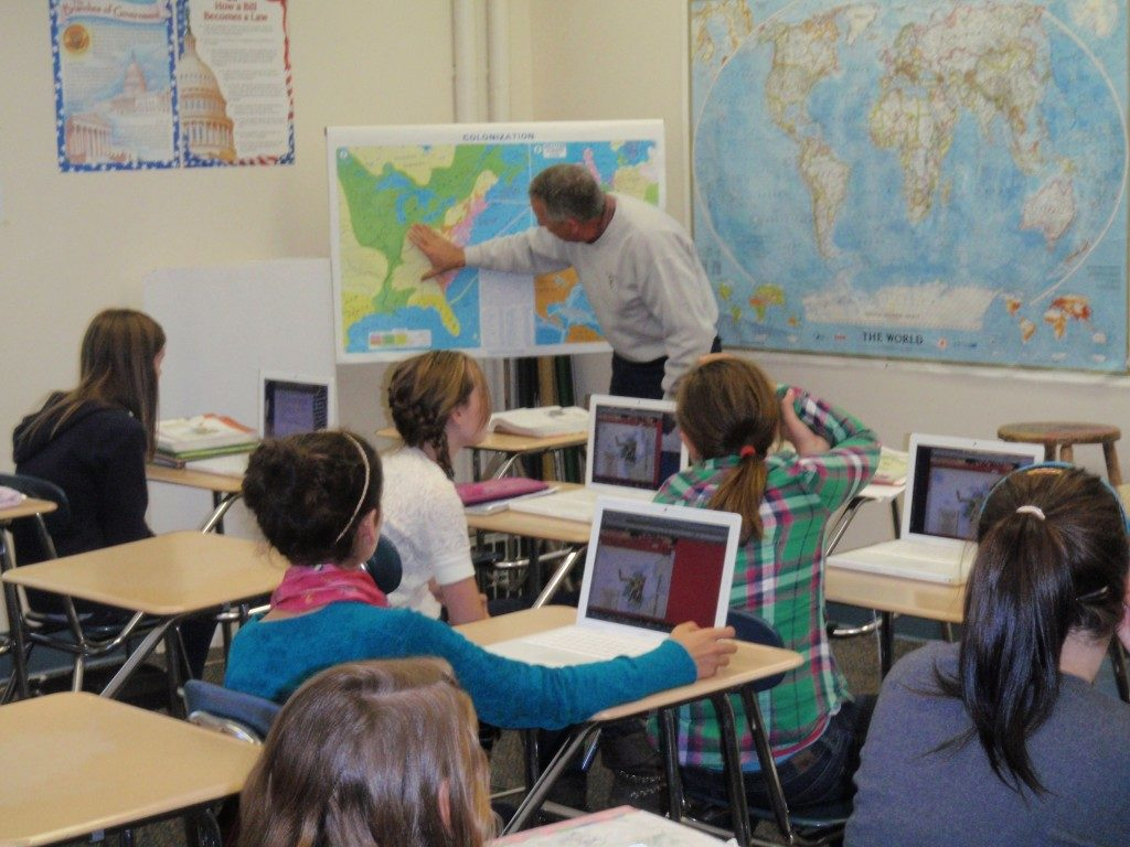 7th Grade students work on their map skills in Social Studies class.